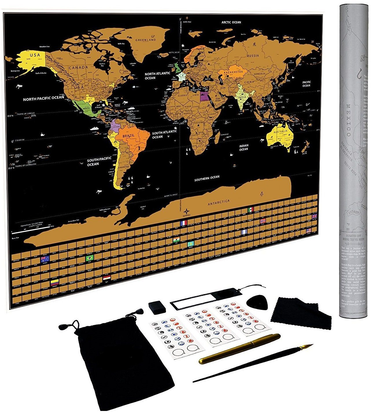 Deals finders amazon scratch off world map poster us states amazon scratch off world map poster us states and country flags now 8 reg 3599 gumiabroncs Image collections