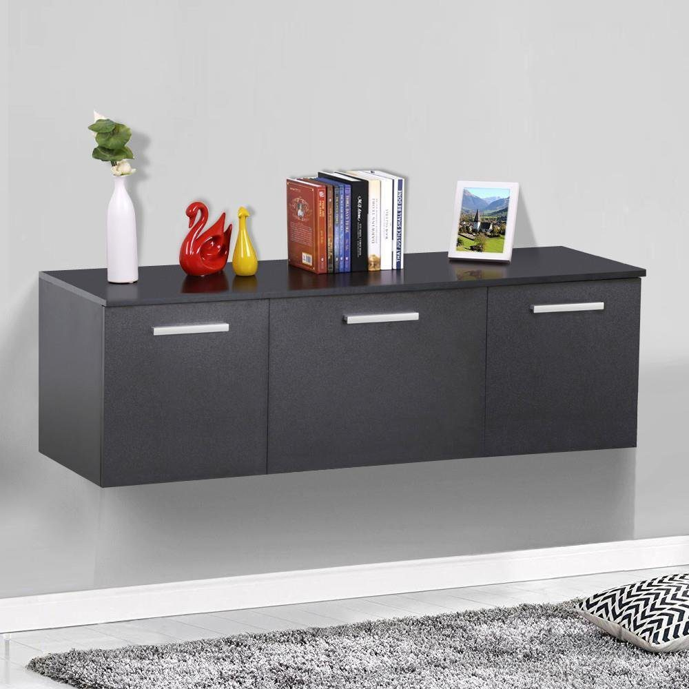 Deals Finders Wall Mount Buffet Floating A Storage Cabinet Hanging Desk Hutch 3 Door Dining Room Furniture Black Just 48 99 W Code Reg