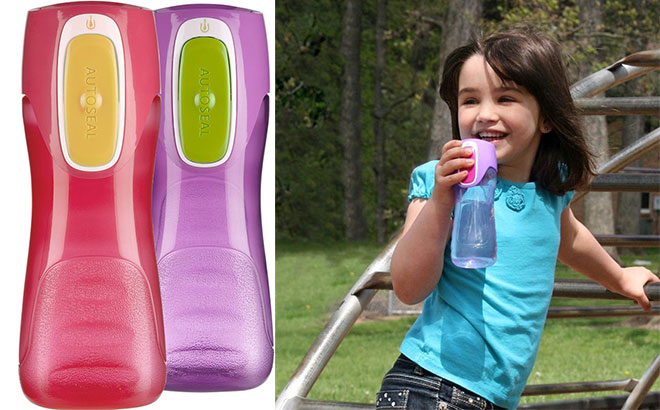 Contigo 14 oz Kids Trekker Autoseal Water Bottle 2-Pack-Cherry Blossom//Amethyst
