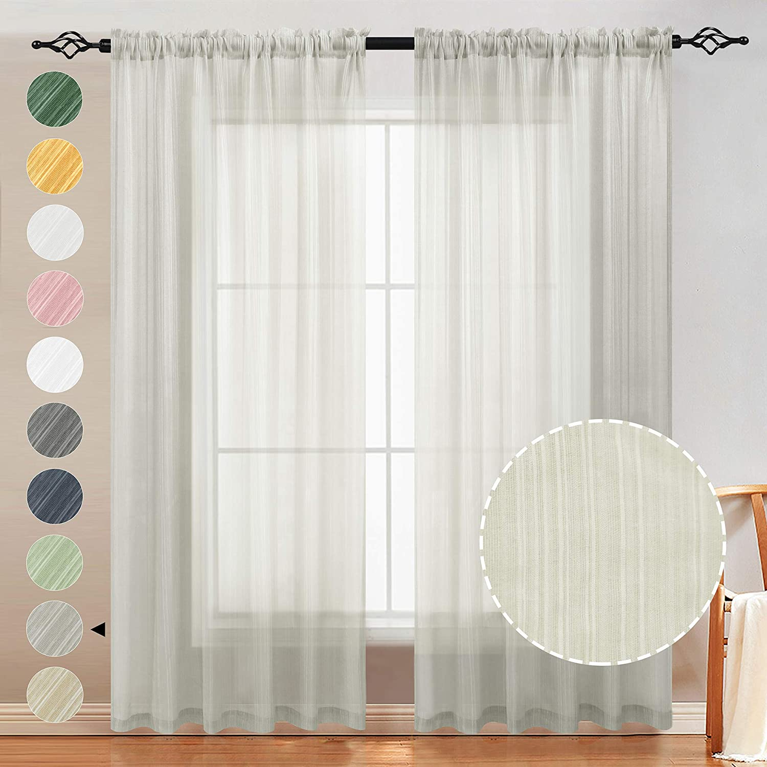 Amazon Natural Linen Sheer Curtains 2 Panels For 6 29 7 49 Reg Price 20 99 24 99 At Checkout Deals Finders