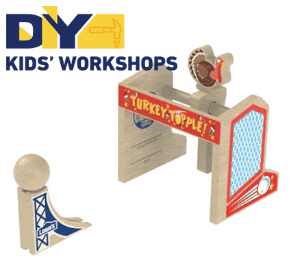 FREE DIY Kids' Workshop Turkey Topple Kit at Lowes on November 13th or 14th (Registration is open now!)
